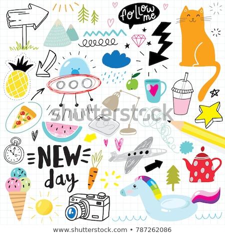 hand drawn colorful vector summer set sketches stock photo © trishamcmillan