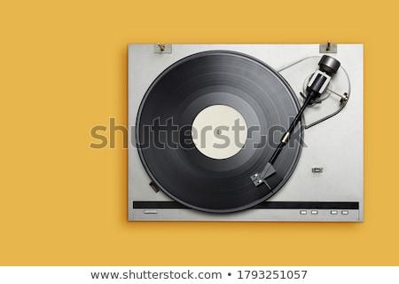 gramofon · gyönyörű · lány · visel · klasszikus · zene · fejhallgató - stock fotó © fisher