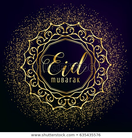 eid mubarak greeting with golden mandala decoration and glitter stock photo © sarts