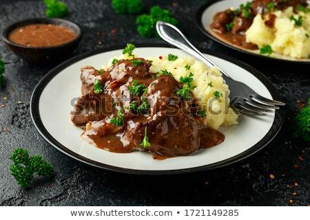 Serpenyő sült krumpli tyúk máj tányér Stock fotó © Digifoodstock