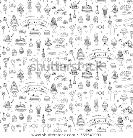 Hand-Drawn Seamless Background - Sweets, Cakes, Candy, Hearts and Lollipops Stock photo © Loud-Mango