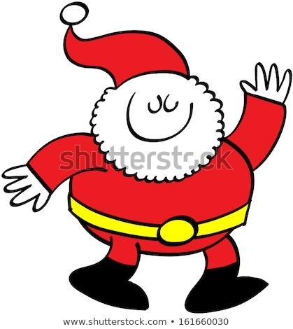 Santa Claus Cartoon Waving Hand Santa Claus With A Raised Left Foto stock © zooco