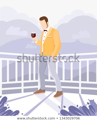 Vector flat style illustration of red wine bottle with wine glas Stock photo © curiosity