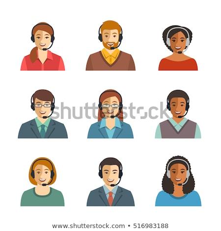 Сток-фото: Cartoon Customer Support Operator Icon Call Center Woman Avatar