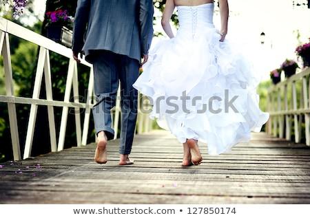 trouwjurk · bruid · houten · muur · vrouw · muziek - stockfoto © tekso