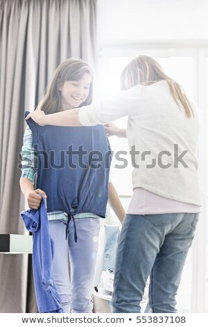 Stockfoto: Twee · meisjes · kleedkamer · familie · leuk · hoed