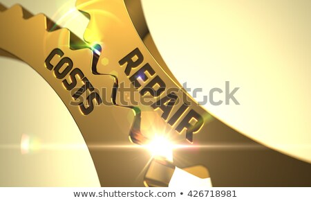 Operations Management on Golden Metallic Cogwheels. Stock photo © tashatuvango