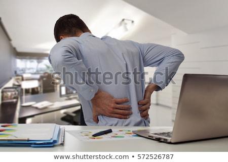 Foto stock: Dor · nas · costas · médico · foco · relatório · pílulas · seringa