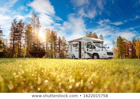 Táborhely fű otthon hegy nyár zöld Stock fotó © lightpoet