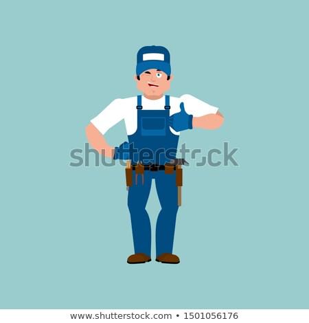 Plumber thumbs up. Fitter winks emoji. Service worker Serviceman Stock photo © popaukropa