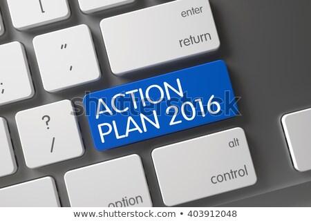 Niebieski działania plan 2016 przycisk klawiatury Zdjęcia stock © tashatuvango