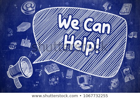 Help And Support - Cartoon Illustration on Blue Chalkboard. Stock photo © tashatuvango