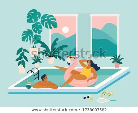 Mujer teléfono móvil piscina femenino persona no Foto stock © stevanovicigor