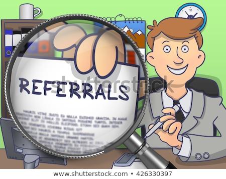 Referral Marketing through Magnifier. Doodle Style. Stock photo © tashatuvango