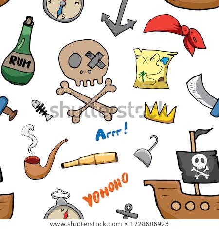 海賊 鳥 ボトル ラム酒 実例 海 ストックフォト © adrenalina