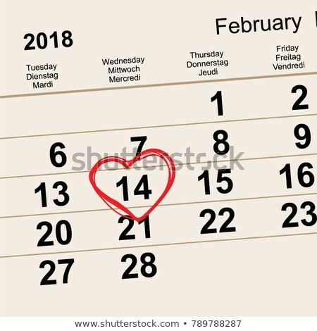 14 February 2018 Saint Valentines Day. Calendar reminder date heart shape Stock photo © orensila