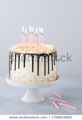 Chocolate birthday cake with cream burning candles Stock photo © LoopAll