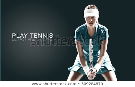 Caucasian tennis player holding racket and ball. Stock photo © RAStudio