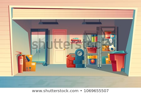 Garage interior with wheels and tire Stock photo © biv