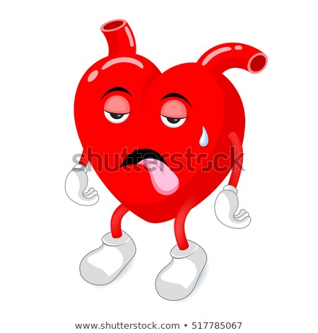 Hasta kalp maskot yorgunluk örnek Stok fotoğraf © lenm