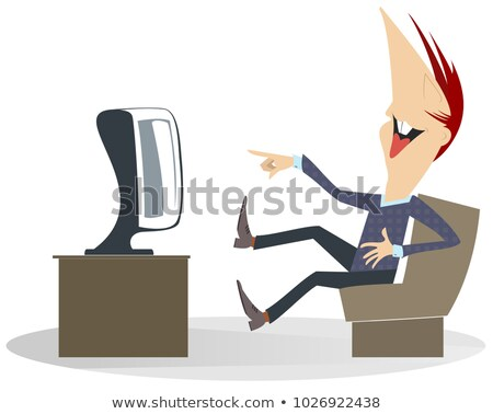 Smiling man is watching TV program and laughing with great emotion isolated illustration Stock photo © tiKkraf69