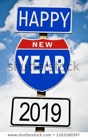Stok fotoğraf: Yol · işareti · değiştirmek · beyaz · yeni · yıl