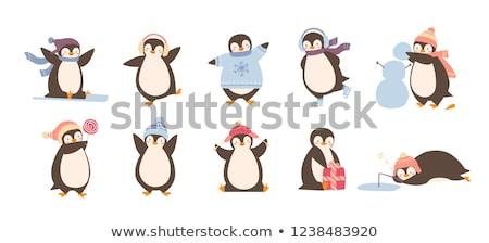 Cute пингвин рыбалки талисман иллюстрация Сток-фото © lenm