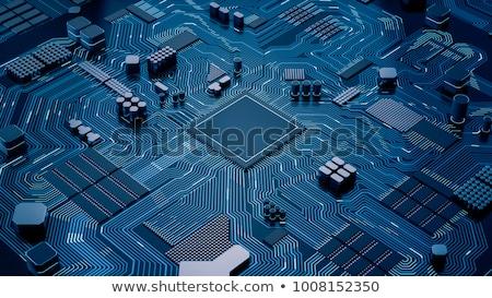 Stock fotó: Modern Computer Chip 3d Rendering
