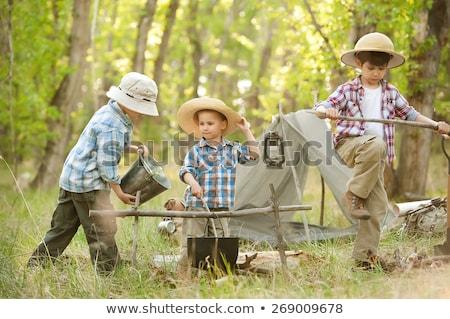 Dzieci kemping na zewnątrz lesie ilustracja dziewczyna Zdjęcia stock © bluering