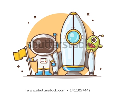 UFO and alien with white flag stands on Earth. Vector illustrati Stock photo © popaukropa