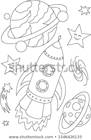 Rocket coloring book. Space transport astronauts. Vector illustr Stock photo © popaukropa