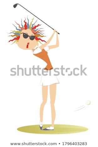 Sonriendo golfista buena patear aislado ilustración Foto stock © tiKkraf69