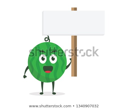 Groene watermeloen vers fruit cartoon mascotte karakter Stockfoto © hittoon