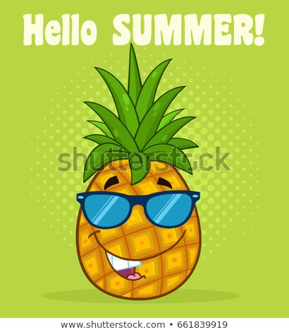 smiling pineapple fruit with green leafs and sunglasses cartoon mascot character design stock photo © hittoon