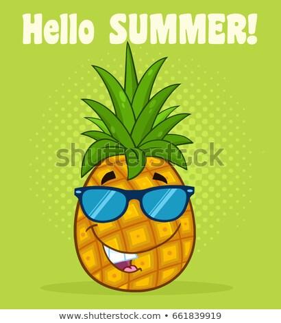 Gülen ananas meyve yeşil güneş gözlüğü karikatür maskot Stok fotoğraf © hittoon