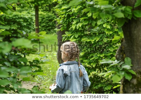 atrás · árvore · grama · floresta · retrato · preto - foto stock © is2