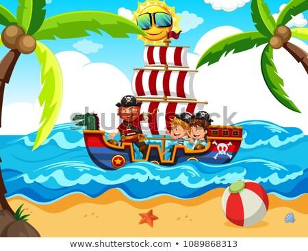 Kinder Aufnahme Piraten Tour Illustration Baby Stock foto © bluering