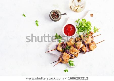 Barbecue tyúk nyárs vacsora hús BBQ Stock fotó © M-studio