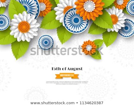 India nap zászló kerék hagyományos szimbólum Stock fotó © orensila