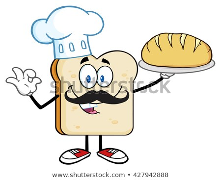 Baker Bread Slice Cartoon Mascot Character With Chef Hat And Mustache Holding A Bread Stock photo © hittoon