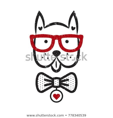 Cute gentleman dog hipster tshirt design vector. Stock photo © yopixart