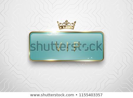 Vip lichtgroen glas label gouden frame Stockfoto © Iaroslava