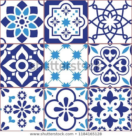 vector tiles design azulejo seamless pattern abstract and floral decoration inspired by trandition stock photo © redkoala