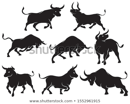 Cartoon Bull Silhouette Charging Stock photo © cthoman