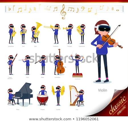virtual reality goggle women_classic music Stock photo © toyotoyo