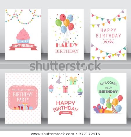 Feliz menina balões festa de aniversário infância pessoas Foto stock © dolgachov