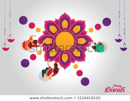 diwali festival burning diya and mandala art Stock photo © SArts