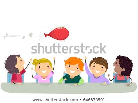 дети физика деятельность шаре иллюстрация смотрят Сток-фото © lenm