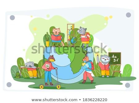 Cartoon profesor ilustracja cap szczęśliwy student Zdjęcia stock © cthoman