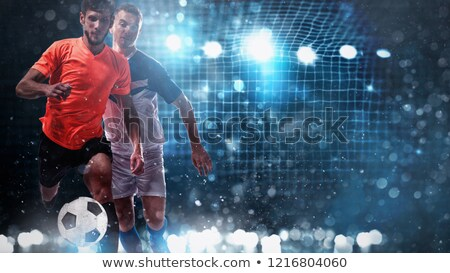 balón · de · fútbol · jugando · campo · fútbol · neto · objetivo - foto stock © alphaspirit